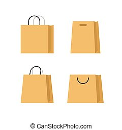 Shopping bags paper vector set isolated on white background