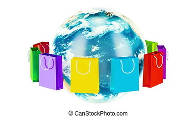 Shopping bags rotation around Earth globe. Online shopping concept. 3D rendering
