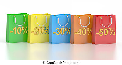 Shopping bags, sale and discount concept. 3D rendering