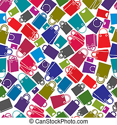 Shopping bags seamless background, vector icon set, elements...