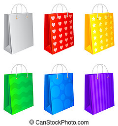 Set of 6 colored shopping bags, isolated on white background.