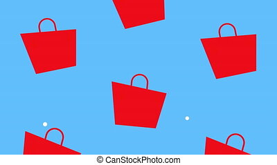 shopping bags set pattern animation ,4k video animated