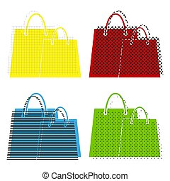 Shopping bags sign. Vector. Yellow, red, blue, green icons with