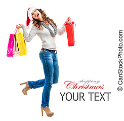 shopping., bags., vendas, shopping, menina, natal