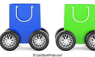 Shopping bags with car wheels, animation. 3D rendering...