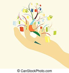 Shopping bags with colorful tree on woman hand for your design, big sale concept