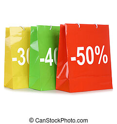 Shopping bags with discounts or special offer during sale -...