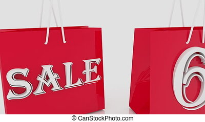 Shopping bags with inscription 65 percents
