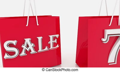 Shopping bags with inscription 70 percents