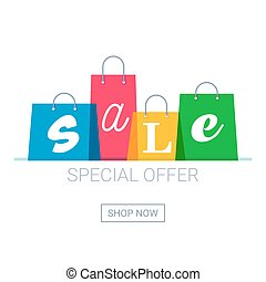 Shopping bags with sale inscription. Online shopping logo. Buy now button.