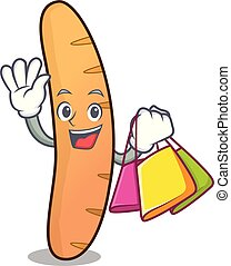 Shopping baguette character cartoon style vector...