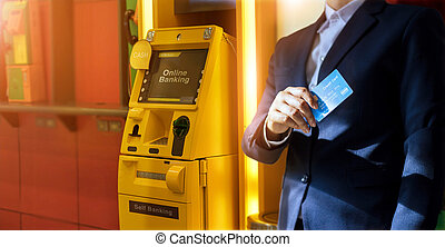 shopping., banking., zahlung, bargeld, geschäftsmann, hand, geldautomat, kredit, withdrawal., machine., karte, online, gebrauchend, bank