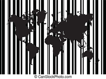 Shopping Bar Code With World Map Vector Illustration