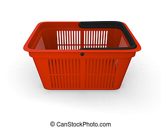 Shopping basket - 3D illustration of empty red plastic...