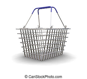 Shopping basket - 3D render of a shopping basket