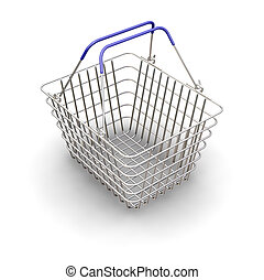 Shopping basket - 3D render of a wire shopping basket