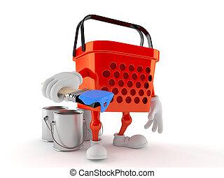 Shopping basket character holding paintbrush