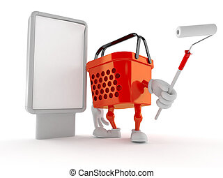 Shopping basket character with blank billboard