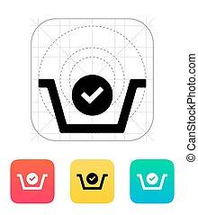 Shopping basket check icon. Vector illustration.