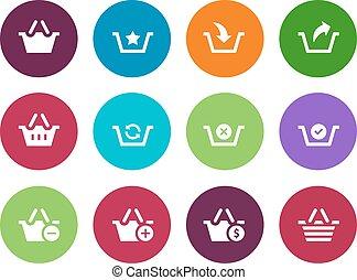 Shopping Basket circle icons on white background.