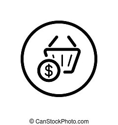 Shopping basket. Dollar symbol. Commerce outline icon in a circle. Vector illustration