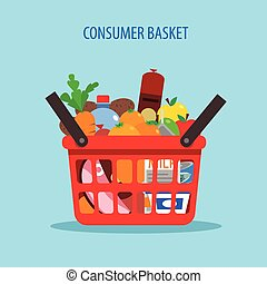 Shopping Basket Flat Concept