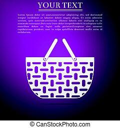 Shopping basket flat icon on purple background. Vector Illustration