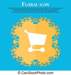 Shopping basket . Floral flat design on a blue abstract background with place for your text. Vector