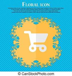 shopping, basket., floreale, appartamento, disegno, su, uno, blu, astratto, fondo, con, posto, per, tuo, text., vettore