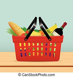 Shopping basket for supermarket with food