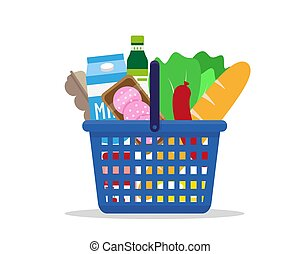 Shopping basket full of fresh products.