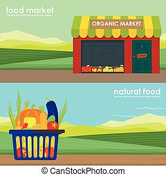 Shopping basket full of healthy organic banner set