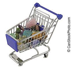 Shopping basket full of tumbled stone crystals