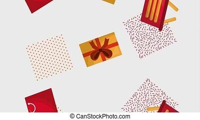 shopping basket gift bag motion shapes geometric animation...