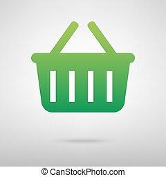 Shopping basket green icon