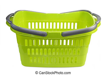 Shopping basket - Green plastic shopping basket isolated on ...