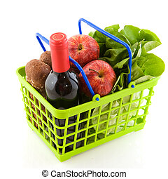 Shopping basket - Green shopping basket with daily food ...