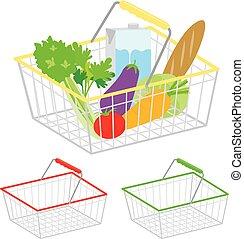 Shopping basket healthy organic fresh and natural food vector icon