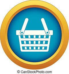 Shopping basket icon blue vector isolated