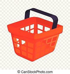 Shopping basket icon, cartoon style