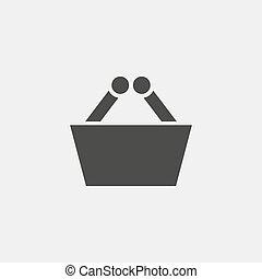 shopping basket icon in black color. Vector illustration