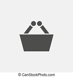 shopping basket icon in black color. Vector illustration