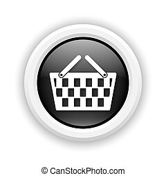 Shopping basket icon - Round plastic icon with white design ...