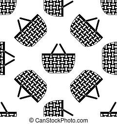 Shopping basket icon seamless pattern on white background. Vector Illustration