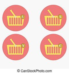 shopping basket icon set vector illustration