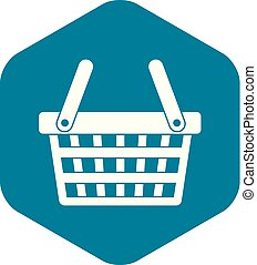 Shopping basket icon, simple style