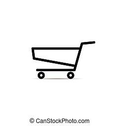 shopping basket icon with wheel