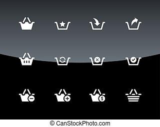 Shopping Basket icons on black background.