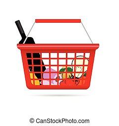 shopping basket illustration with product