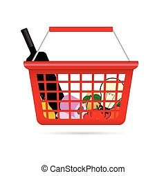shopping basket illustration with product